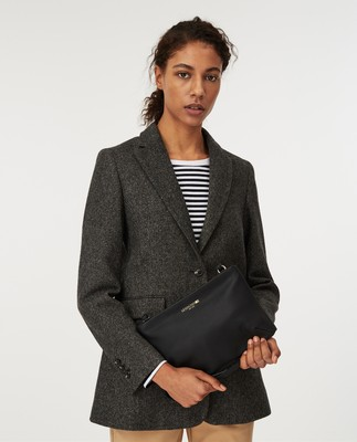 Frida Wool Blazer, Dark Gray Melange