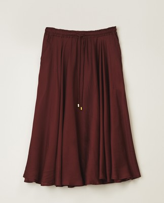 Della Satin Skirt, Dark Red