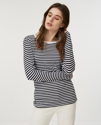 Thelma Solid Tee, Blue/White Stripe