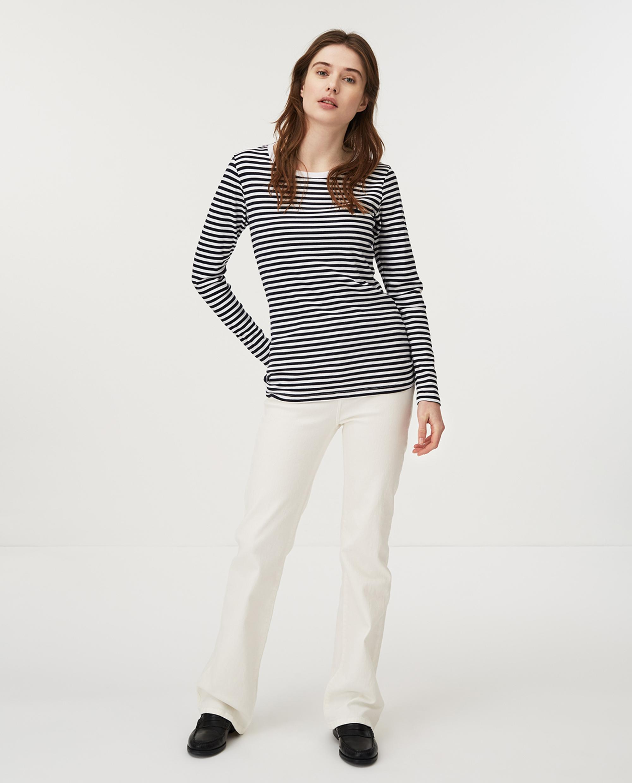 Thelma Solid Tee, Blue/White Stripe