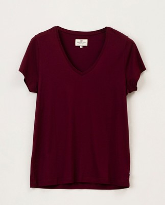 Becka V-neck Tee, Dark Red