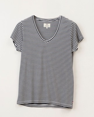 Becka V-neck Tee, Blue/White Stripe