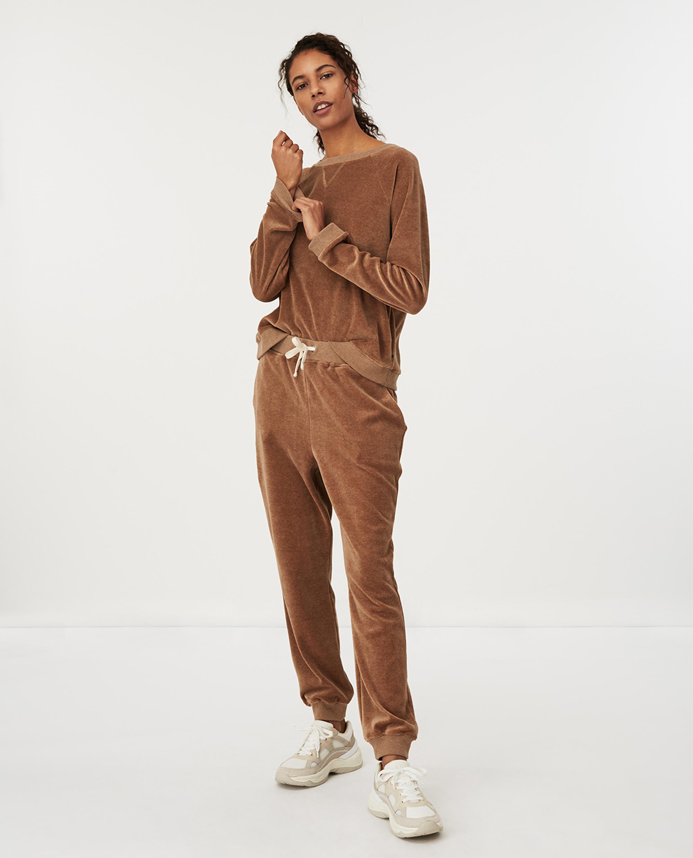Martha Velour Sweatshirt, Beige Melange