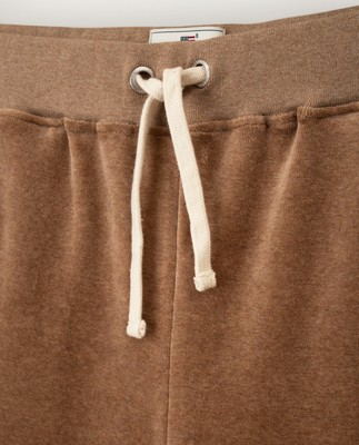 Minnie Velour Pants, Beige Melange