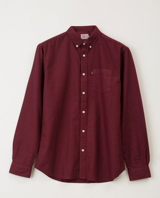 Kyle Oxford Organic Cotton Shirt, Dark Red