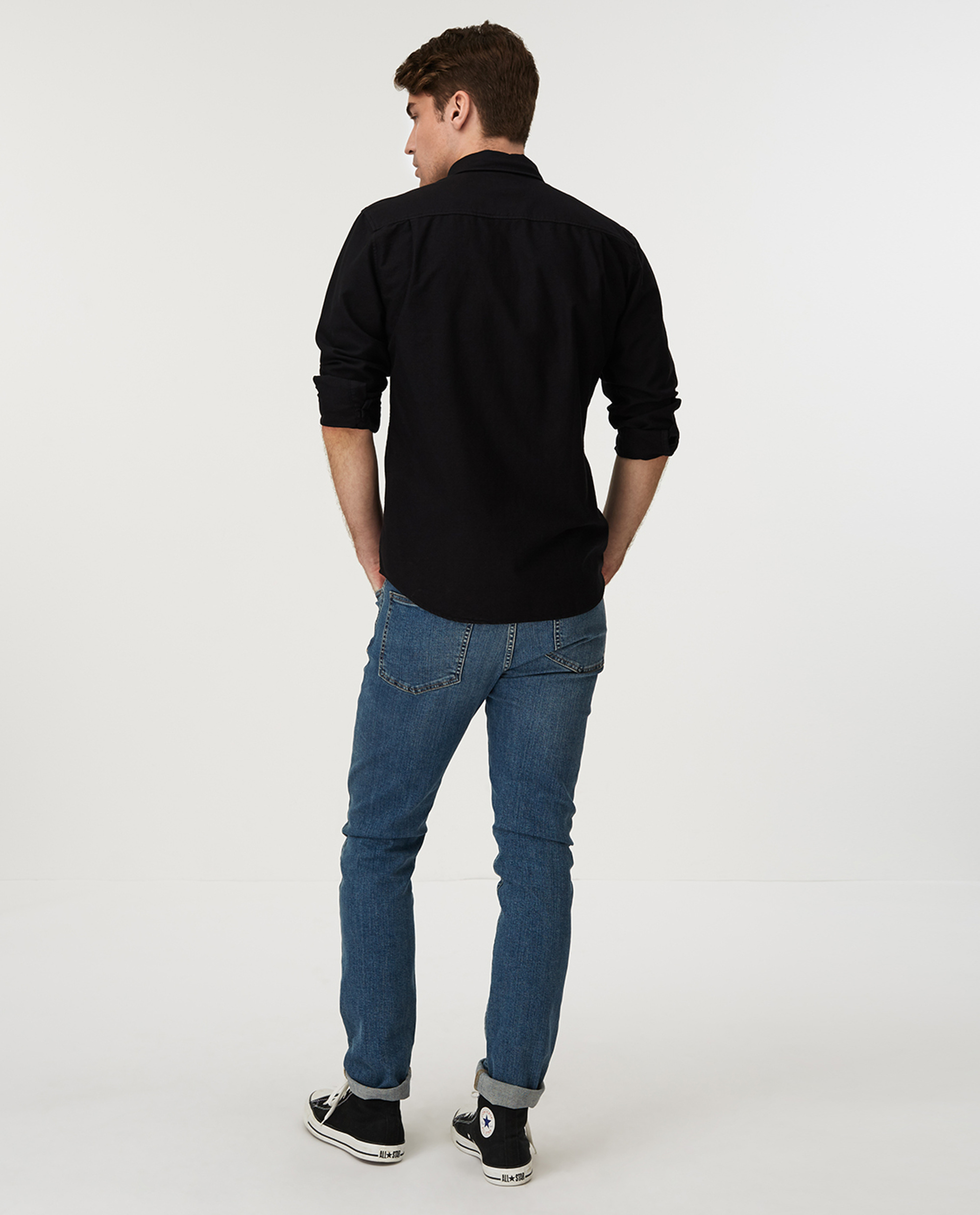 Kyle Oxford Organic Cotton Shirt, Black