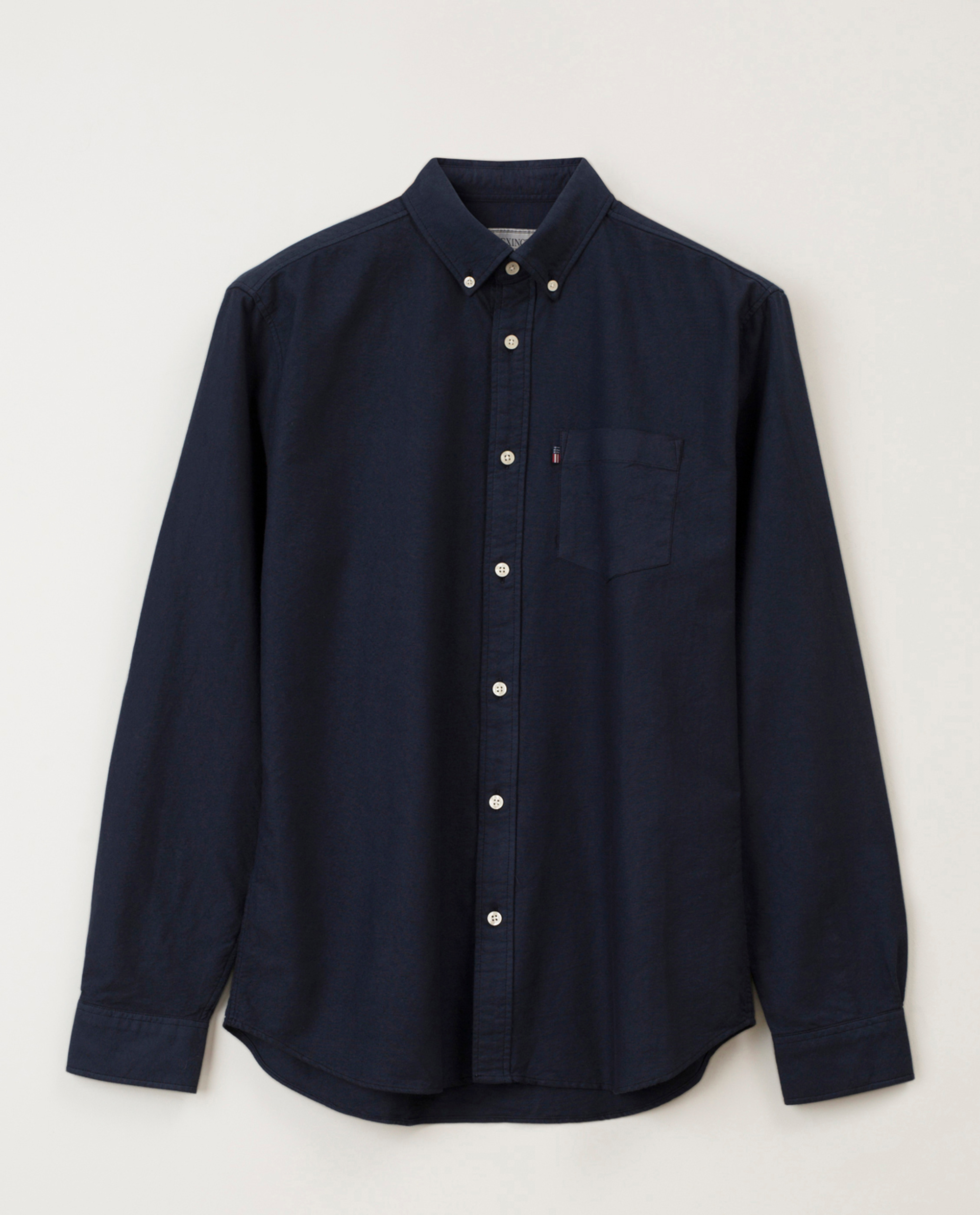 Kyle Oxford Organic Cotton Shirt, Dark Blue