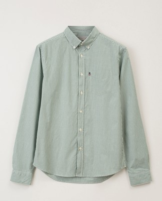 Taylor Poplin Shirt, Green/White Stripe