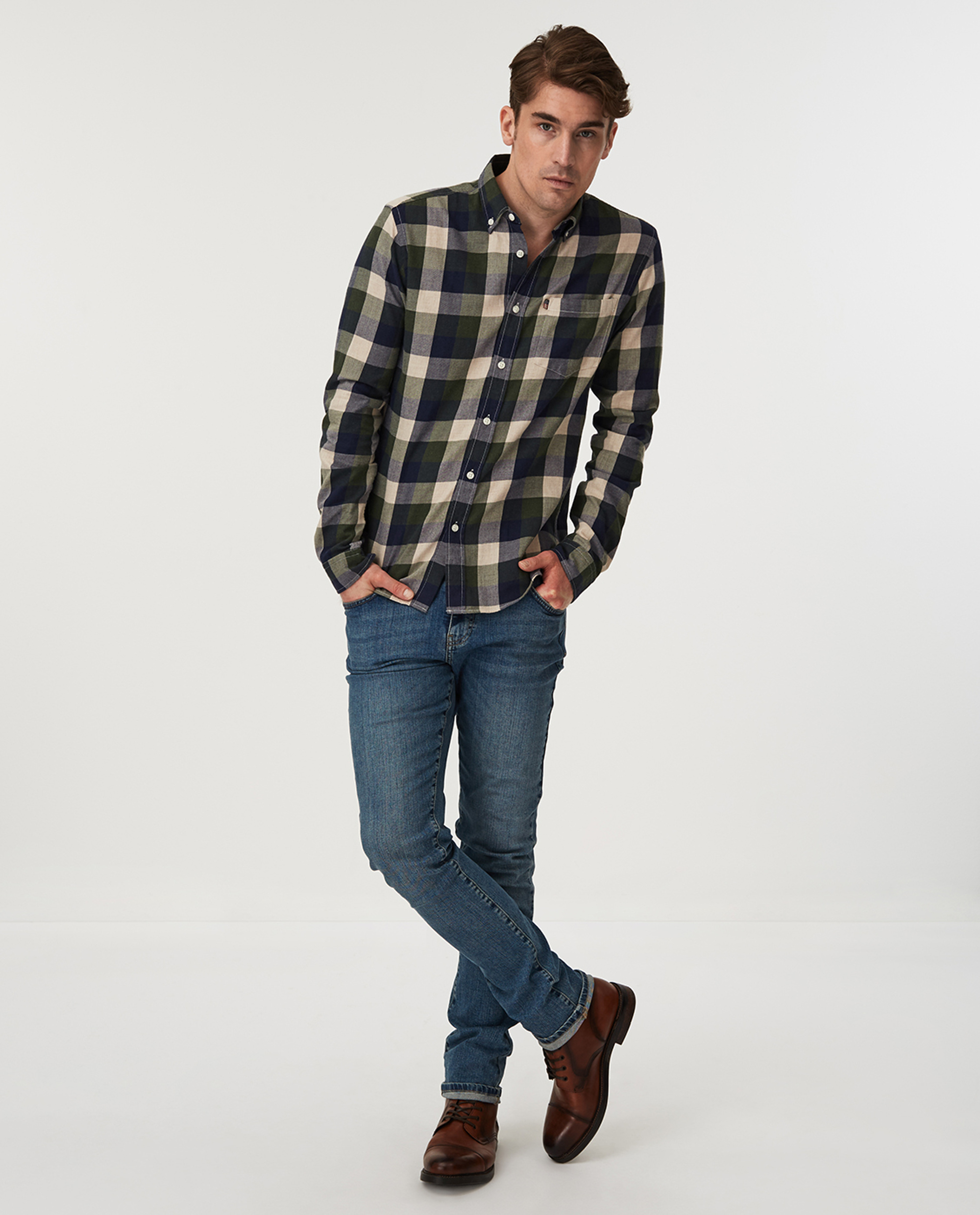 Peter Lt Flannel Shirt, Green Multi Check
