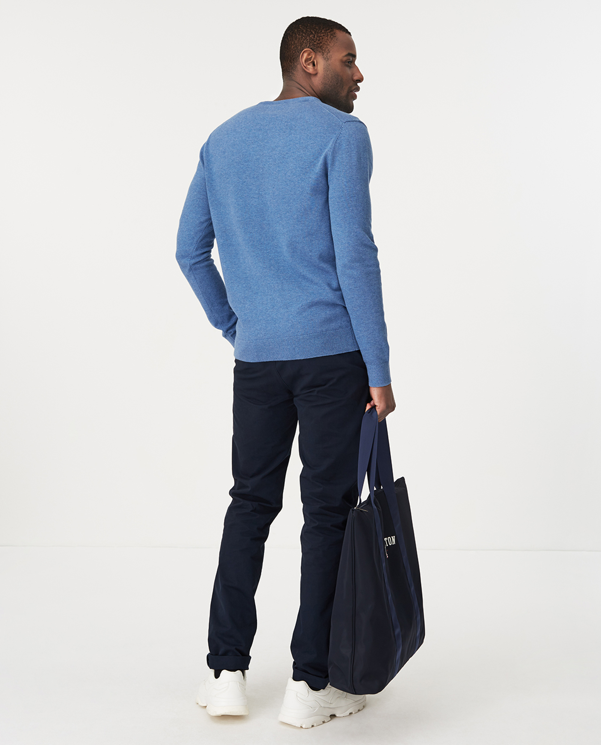 Bradley Crew Neck Sweater, Blue Melange