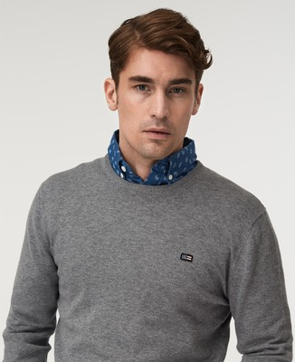 Bradley Crew Neck Sweater, Gray Melange