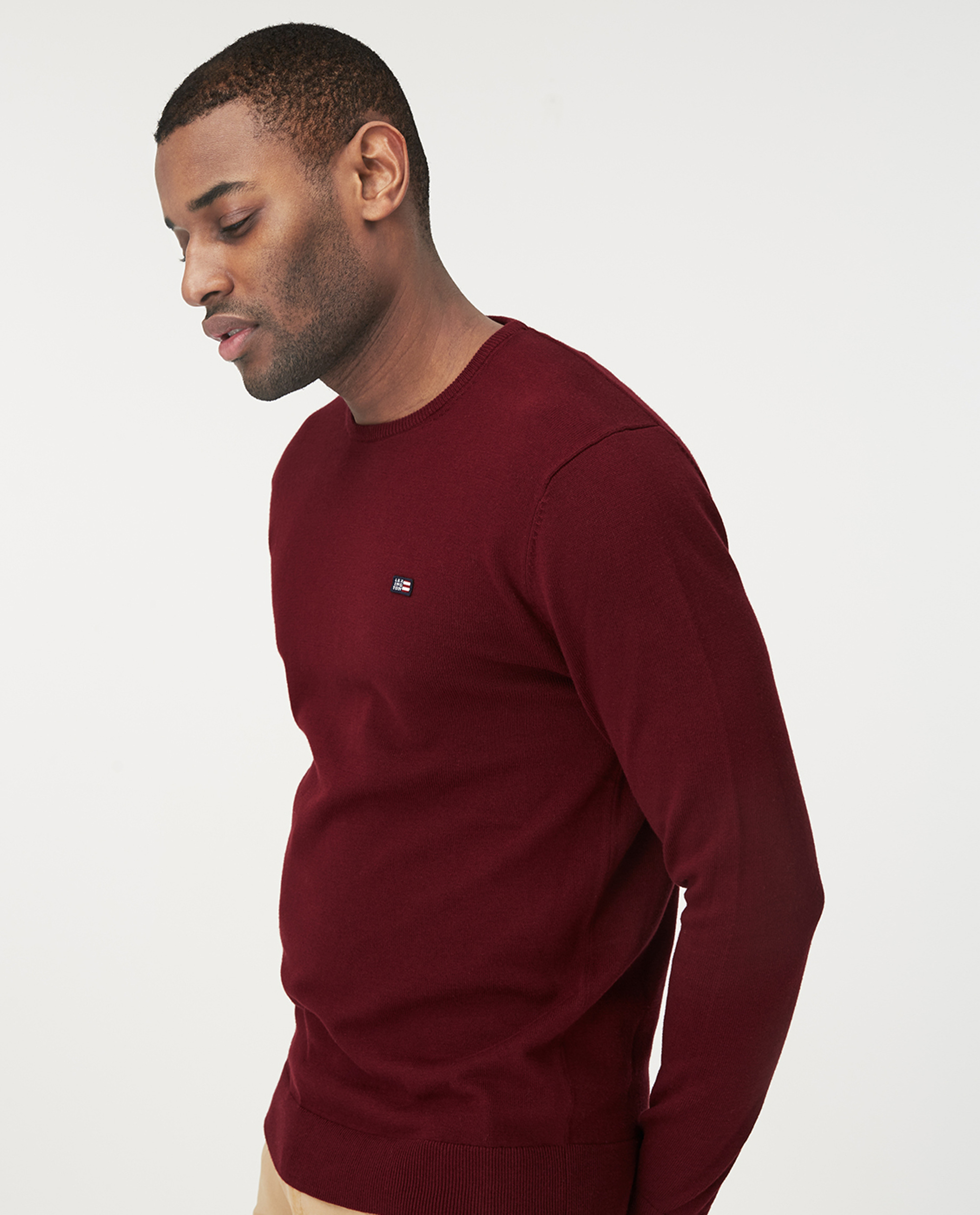 Bradley Crew Neck Sweater, Dark Red
