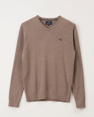 Allen V-Neck Sweater, Brown Melange