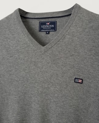 Allen V-Neck Sweater, Gray Melange
