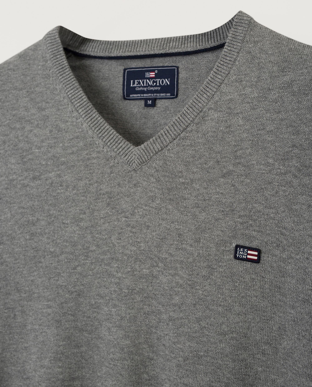 Allen V-Neck Sweater, Gray Melange