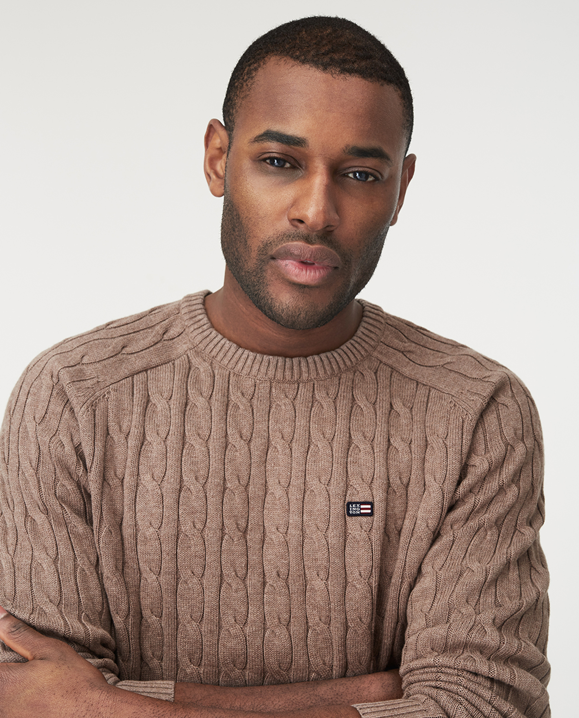 Andrew Cable Sweater, Brown Melange
