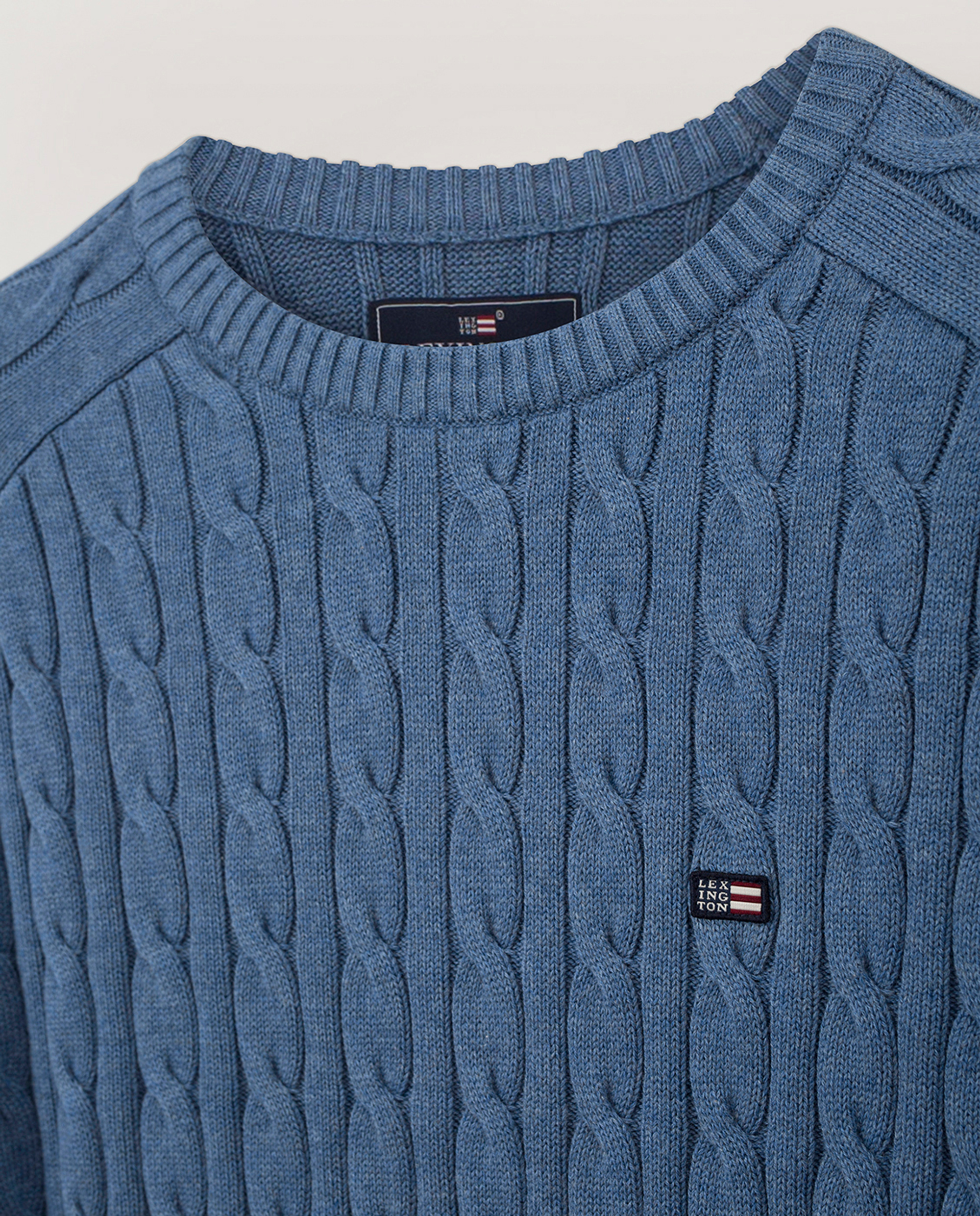 Andrew Cable Sweater, Blue Melange