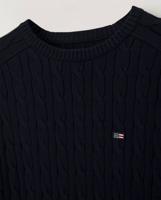 Andrew Cable Sweater, Dark Blue