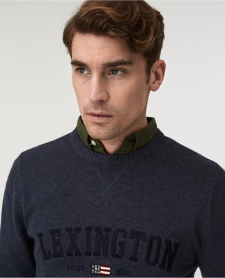 Nelson Knitted Sweatshirt, Blue Melange