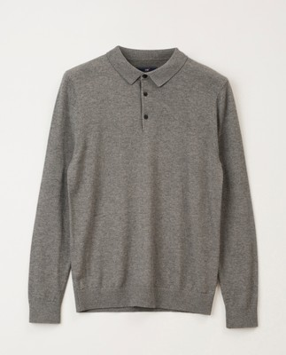 Riley Knitted Long Sleeve Polo, Gray Melange