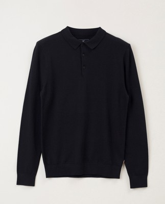 Riley Knitted Long Sleeve Cotton/Wool Polo, Dark Blue