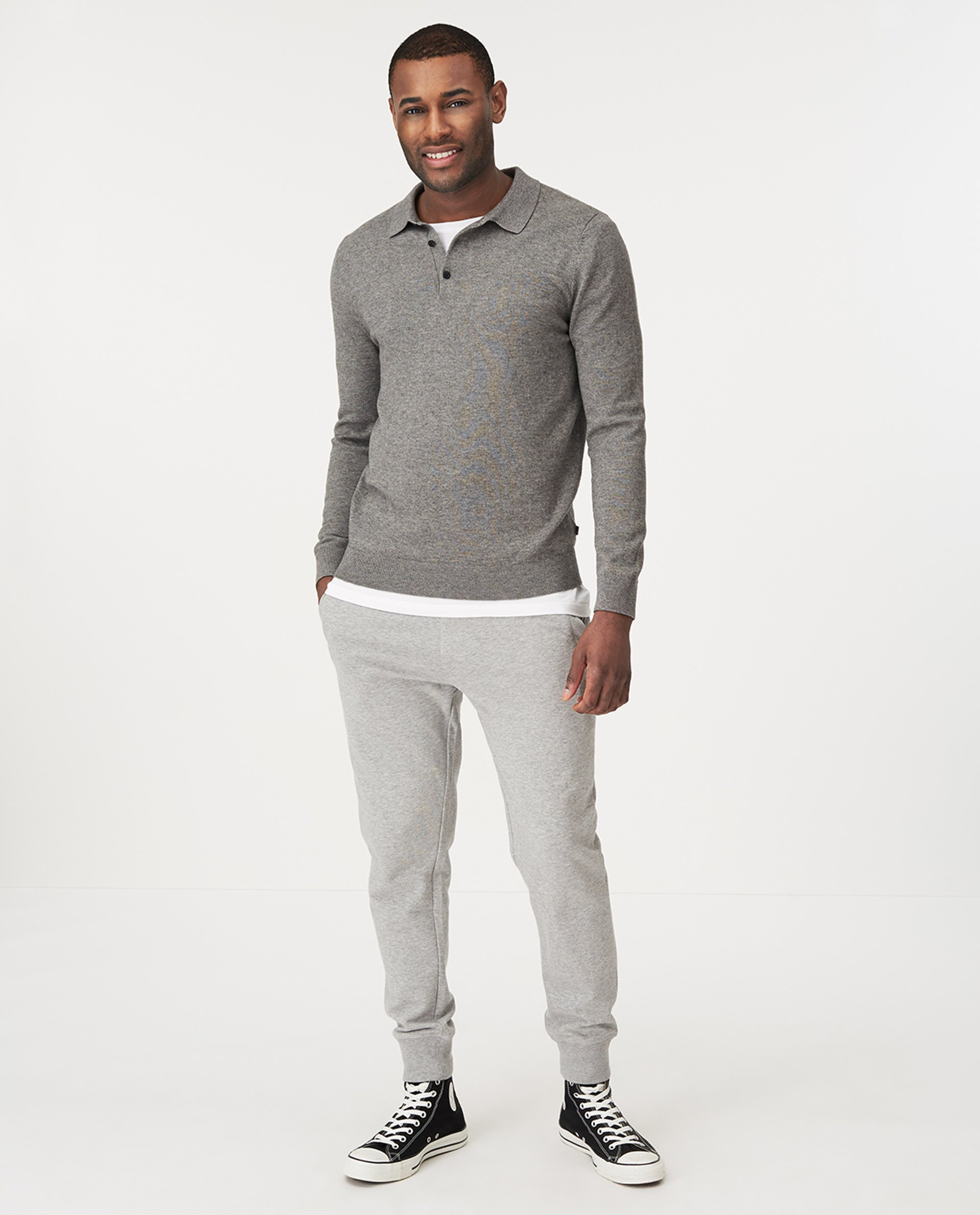 Riley Knitted Long Sleeve Cotton/Wool Polo, Gray Melange