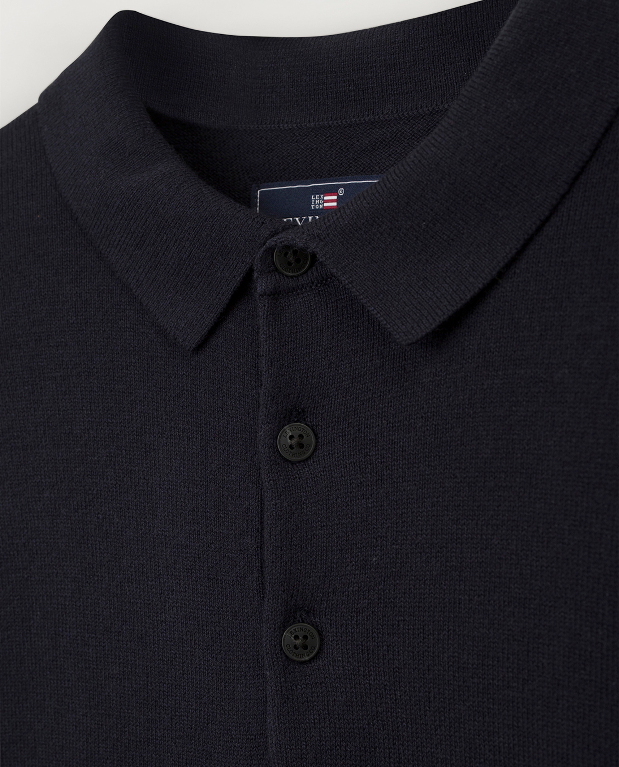 Riley Knitted Long Sleeve Polo, Dark Blue