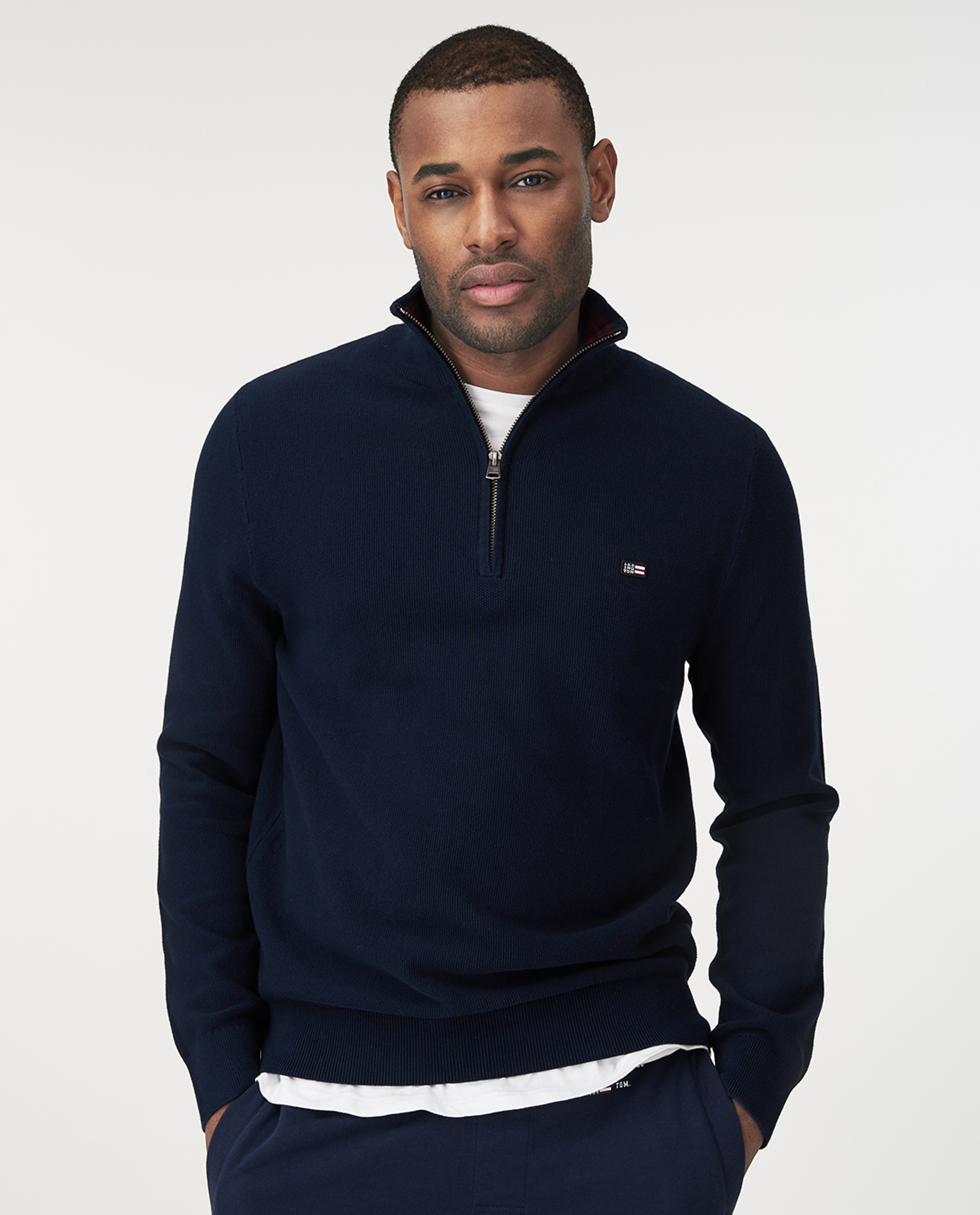 Clay Half Zip Combed Cotton Sweater, Dark Blue