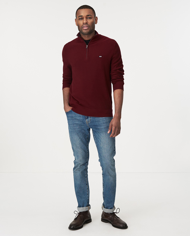 Clay Half Zip Combed Cotton Sweater, Dark Red