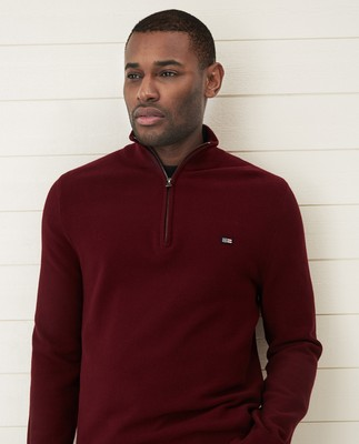 Clay Half Zip Combed Cotton Sweater, Dark Red