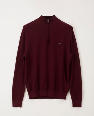 Clay Half Zip Sweater, Dark Red