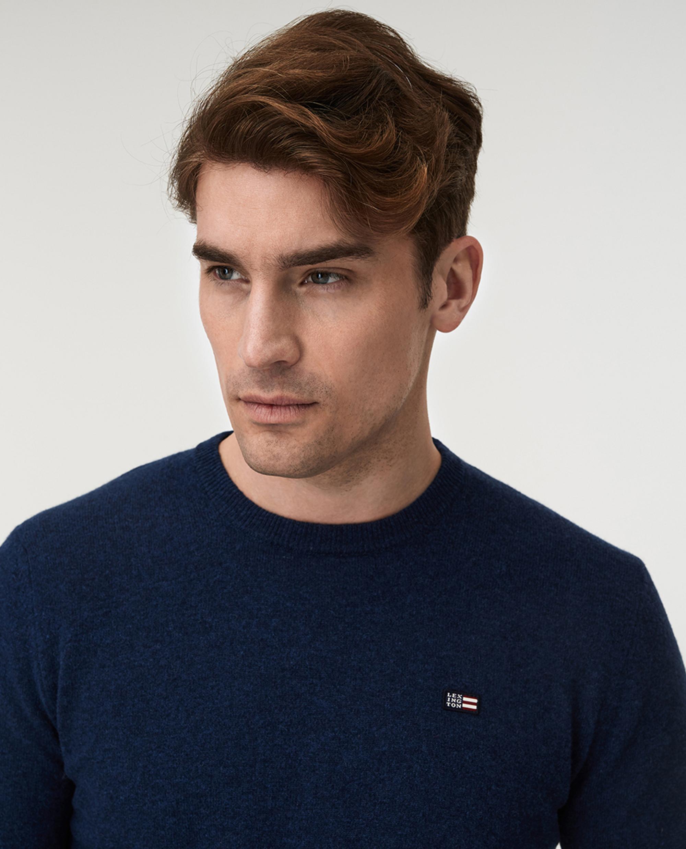 Hank Crew Neck Sweater, Blue Melange