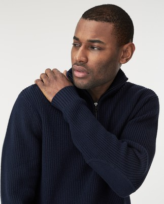 Vinnie Half Zip Sweater, Dark Blue