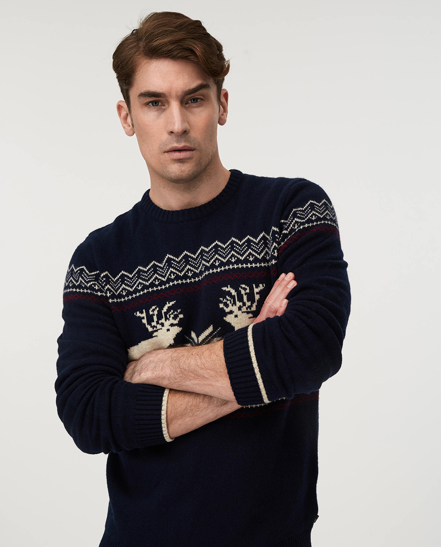 Jim Holiday Sweater, Dark Blue