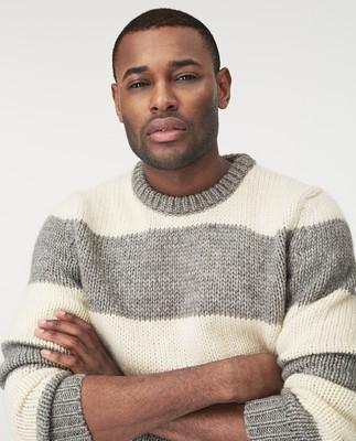 Rufus Sweater, Gray/White Stripe