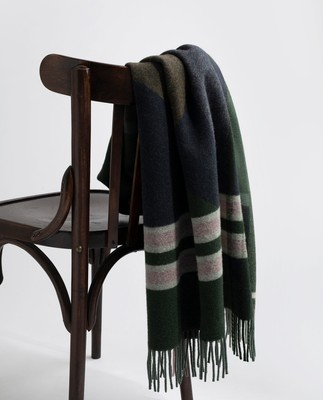 Aurora Checked Wool Scarf, Multi Chek