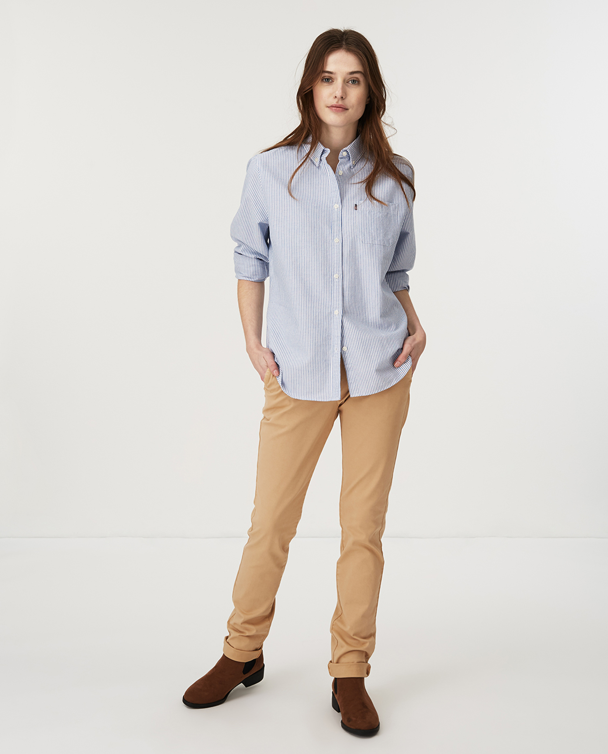 Sarah Organic Cotton Oxford Shirt, Blue/White Stripe