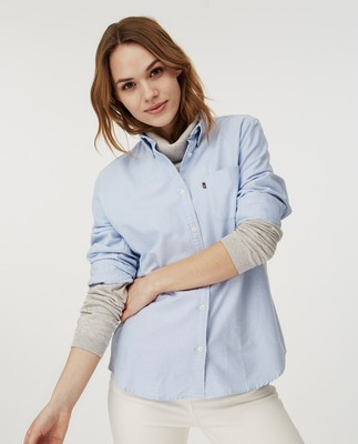 Sarah Organic Cotton Oxford Shirt, Light Blue