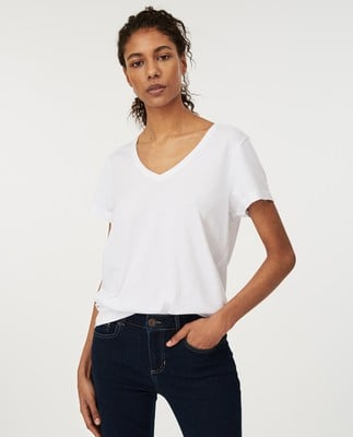 Becka V-neck Tee, White