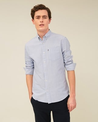 Kyle Oxford Organic Cotton Shirt, Blue/White Stripe