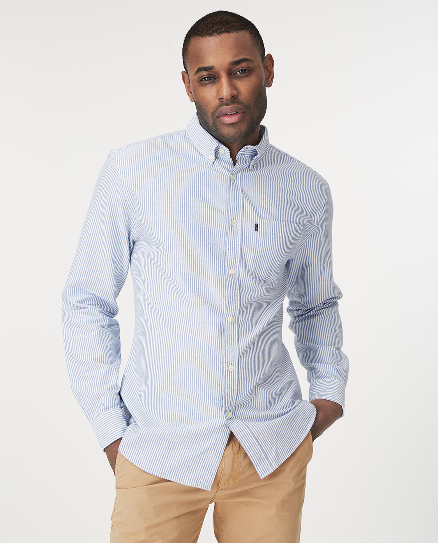 Kyle Oxford Organic Cotton Shirt, Blue/White Stripe