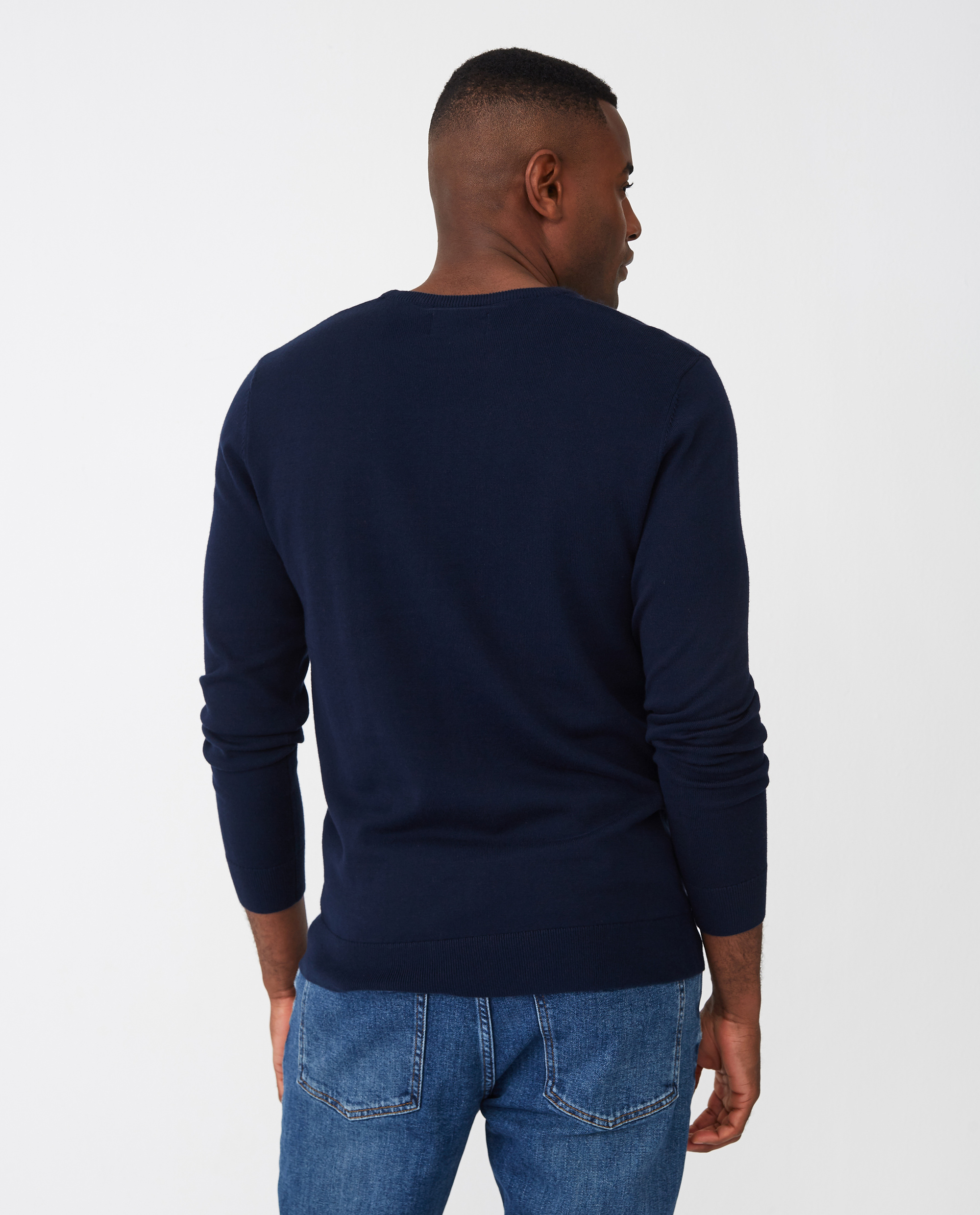 Bradley Organic Cotton Crew Neck Sweater, Dark Blue