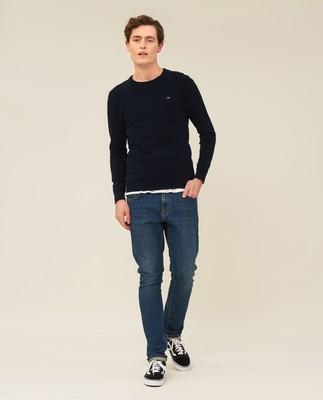 Bradley Organic Cotton Crew Neck Sweater, Dark Blue