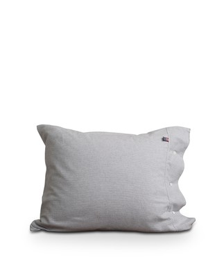 Striped Flannel Pillowcase, Lt Gray/White