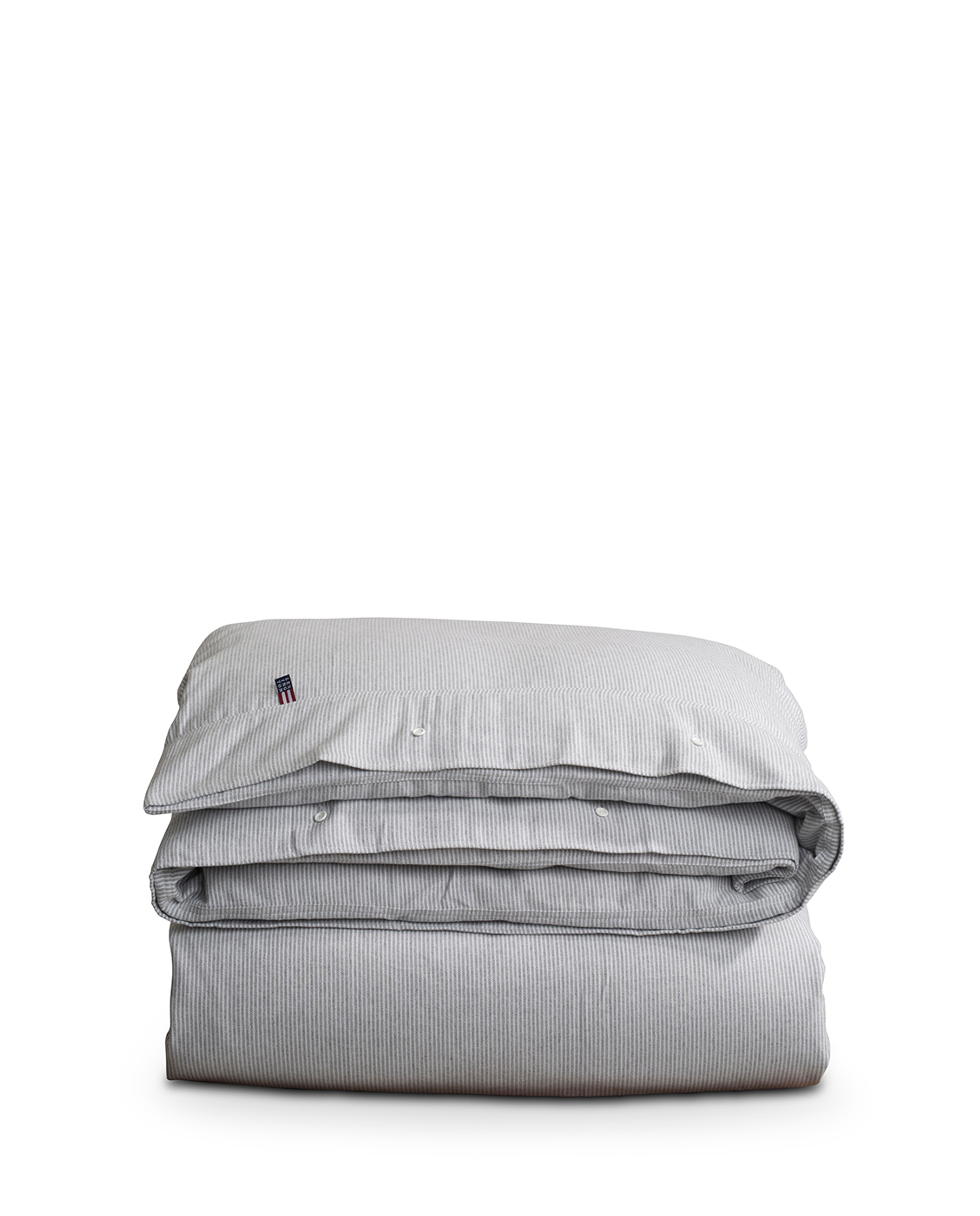 Striped Flannel Duvet, Lt Gray/White
