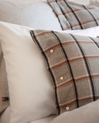Checked Flannel Pillowcase, Gray/White/Rust Check