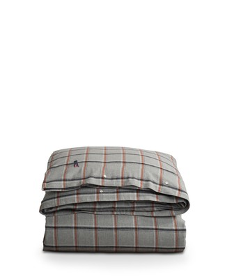Checked Flannel Duvet, Gray/White/Rust Check