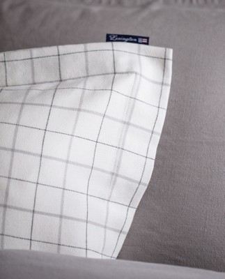 Cashmere Flannel Pillowcase, White/ Lt Gray Check
