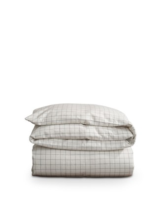Cashmere Flannel Duvet, White/Lt Gray Check