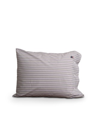 Multi Striped Poplin Pillowcase, Gray/White/Red Multi Stripe